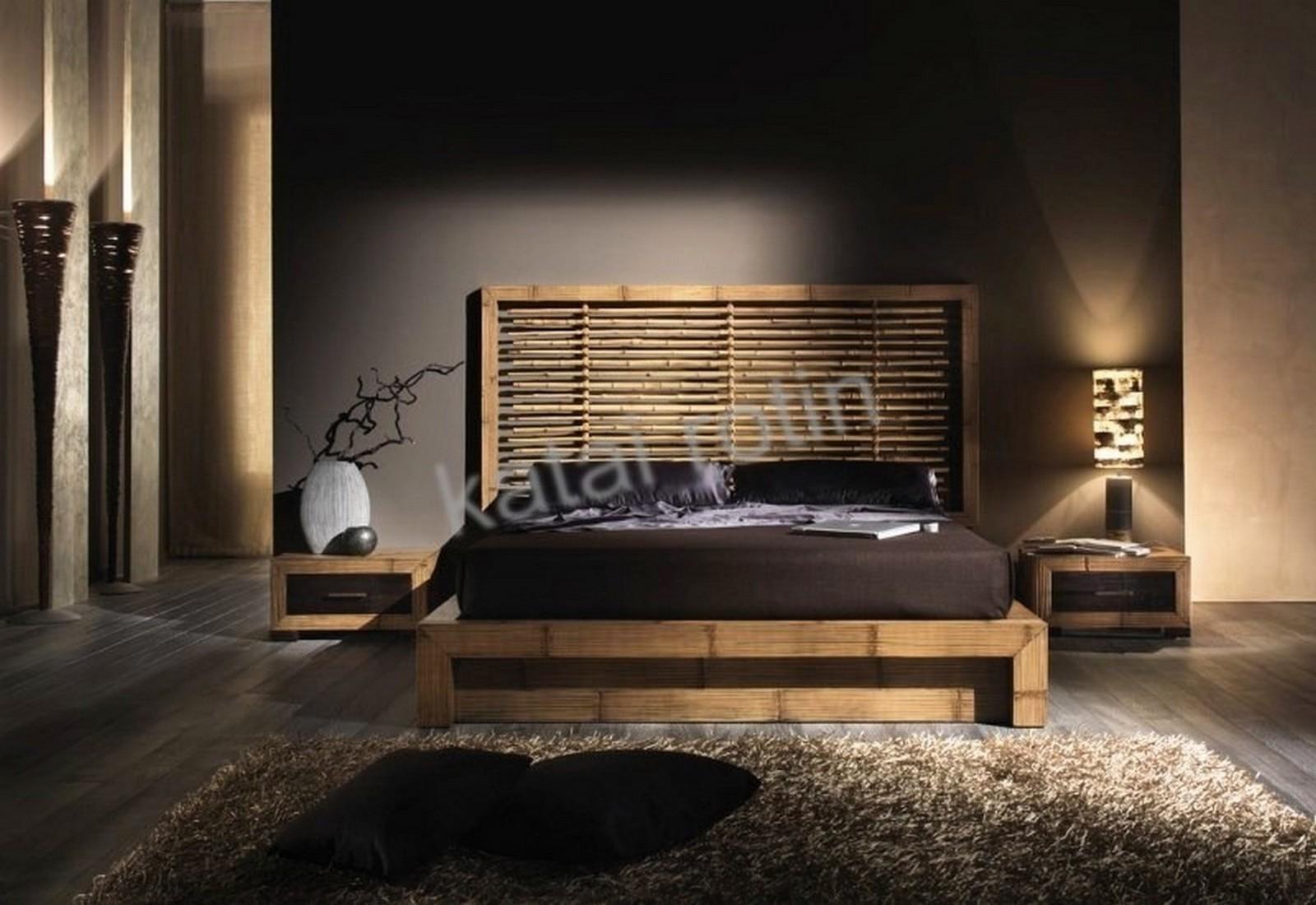 Chambre à coucher en bambou bicolore, mobilier complet en bambou